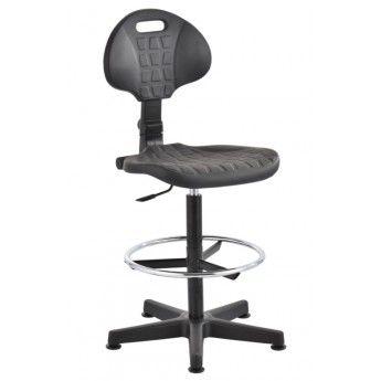 krzesło przemysłowe warsztatowe wysokie pianka PU stopki