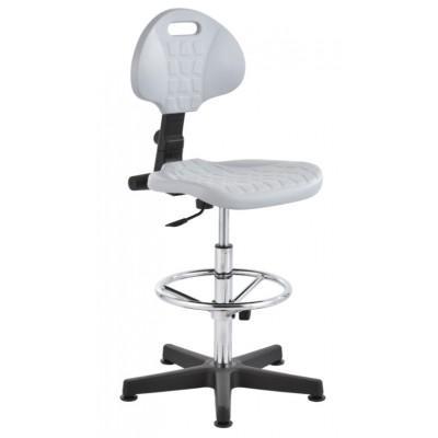 krzesło przemysłowe warsztatowe wysokie pianka PU stopki regulowany podnóżek