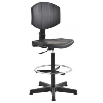 krzesło przemysłowe warsztatowe wysokie pianka PU stopki podnóżek