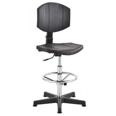 krzesło przemysłowe warsztatowe laboratoryjne wysokie pianka PU stopki podnóżek regulowany