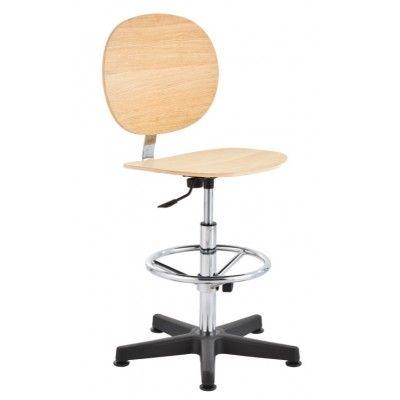 krzesło przemysłowe warsztatowe sklejka wysokie podnóżek regulowany